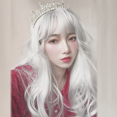 Silver white big wave long wig DB4129
