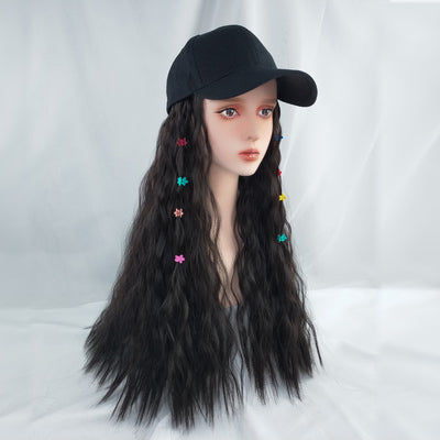 Smoky blue hat long wig DB4098