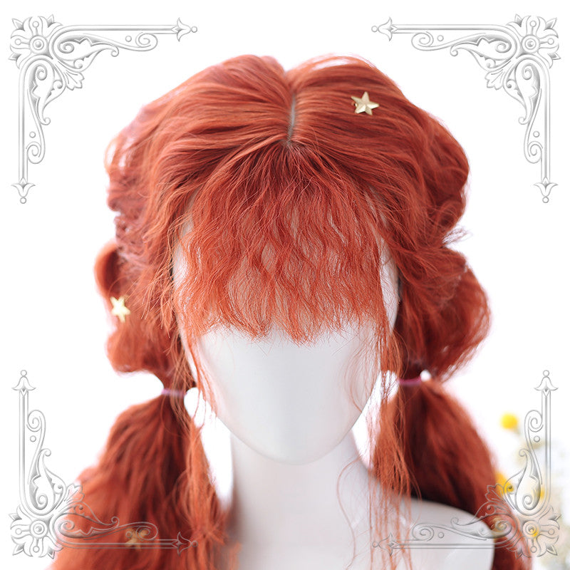 Lolita brown red curly hair wig  DB4339