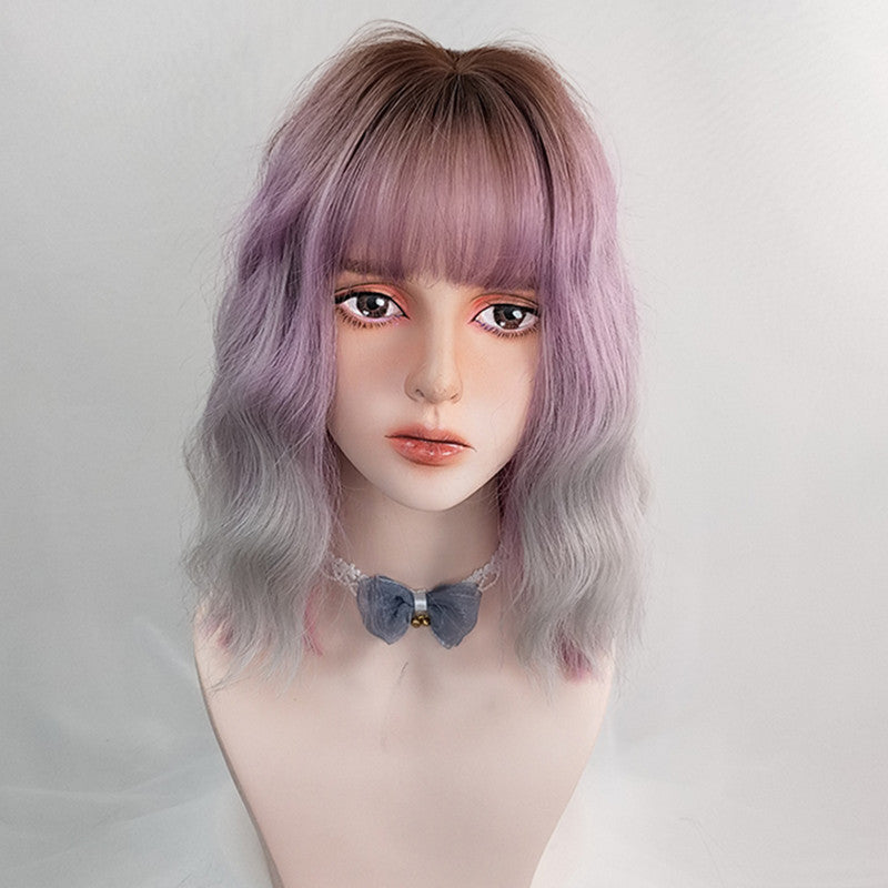 Harajuku purple gradient clavicle wig DB5973