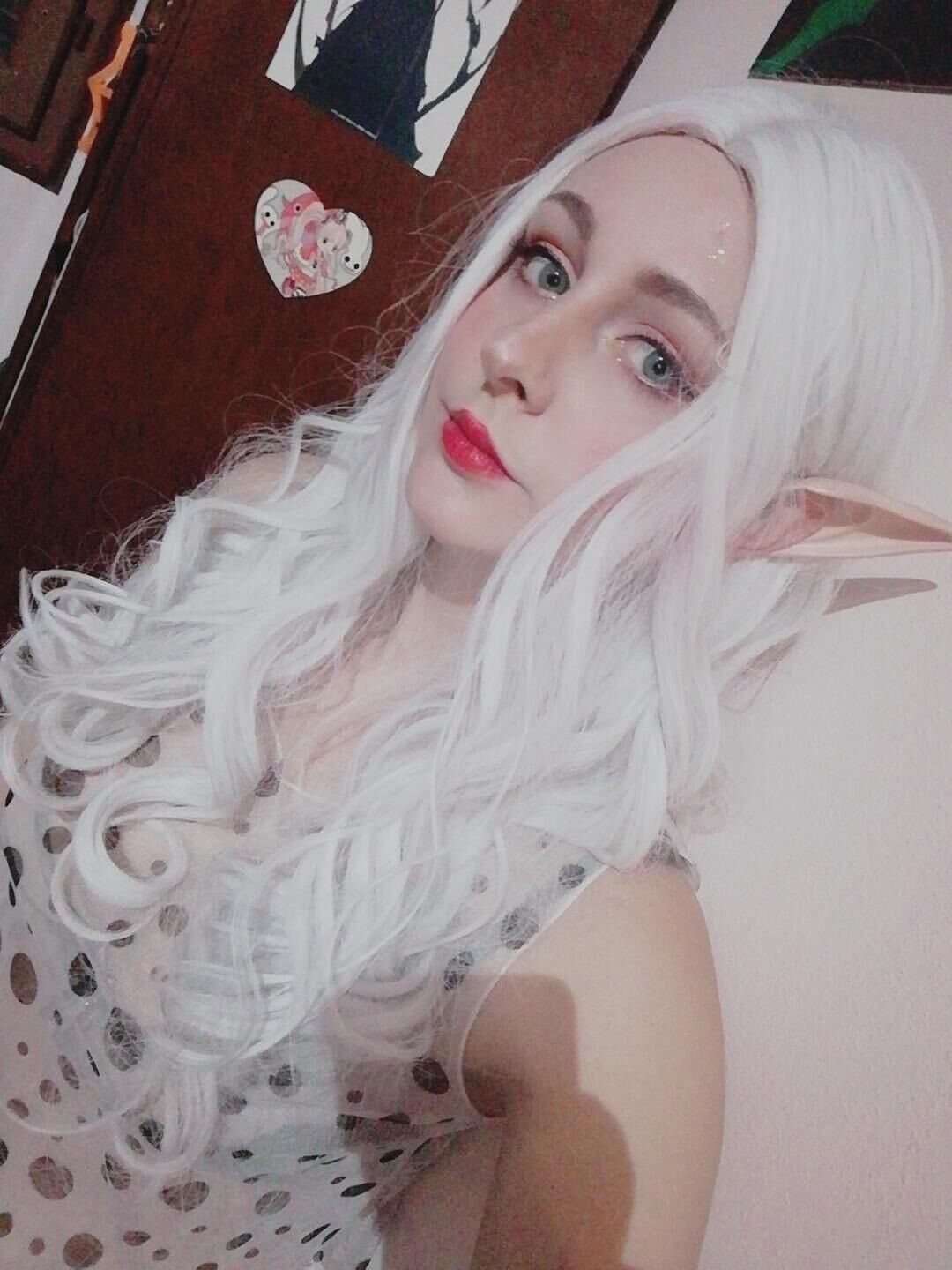Silver white Lolita long curly hair wig DB4117