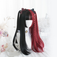 Lolita red + black double ponytail wig DB5264