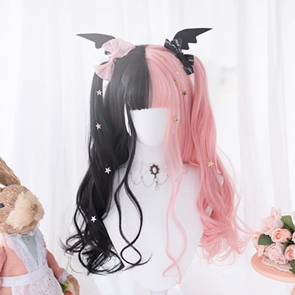 Lolita Black + Pink Colorblock Long Curly Wig DB5383