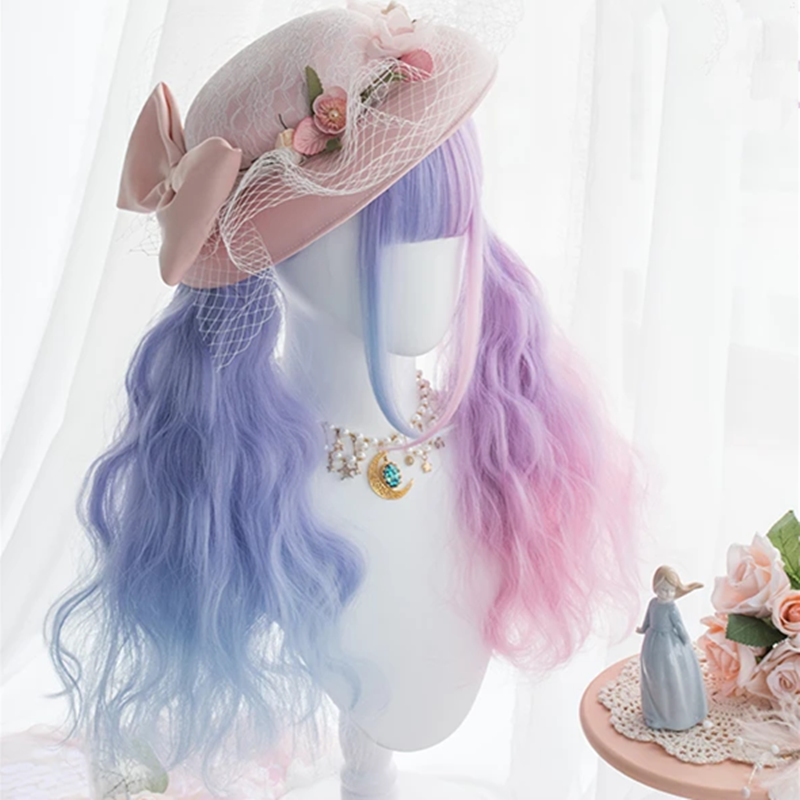 Lolita blue + pink purple stitching wig DB5467
