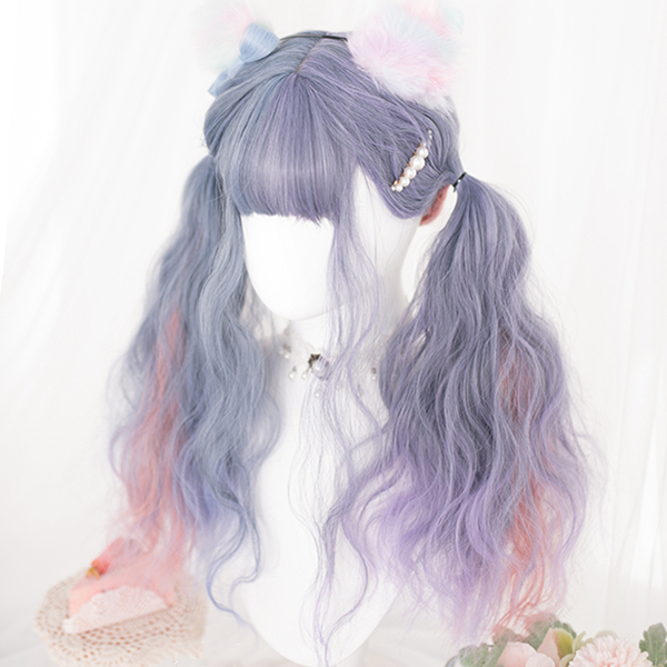 Blue pink purple mixed color wig DB5548