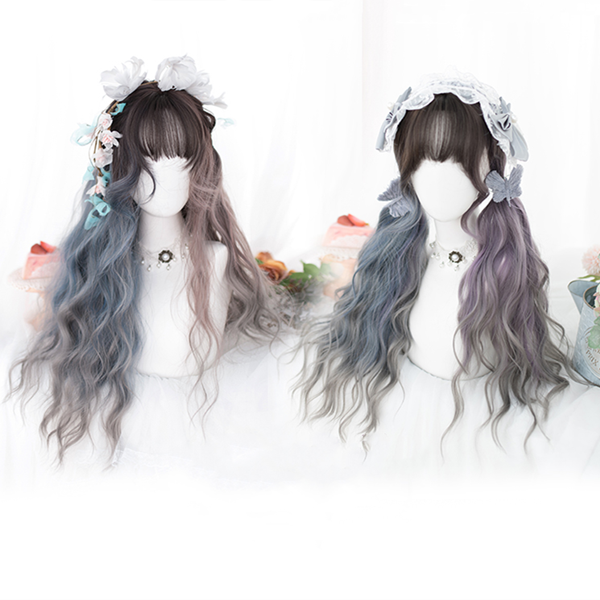 Harajuku Gray Blue Colorblock Wig DB5547