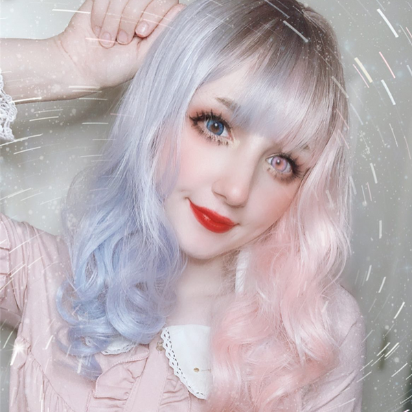 Review from Lolita blue powder gradient long curly hair wig DB4819