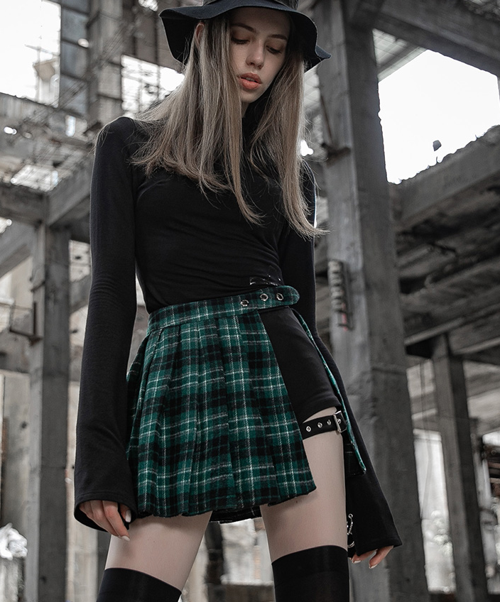Fake two-piece plaid high waist skirt DB2004