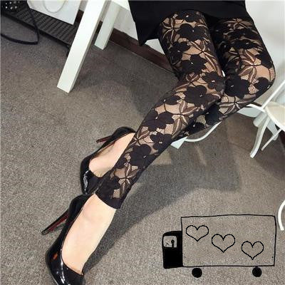Openwork lace nine points leggings DB4082