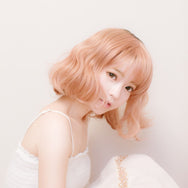 Gold powder short curly hair  wig DB3107