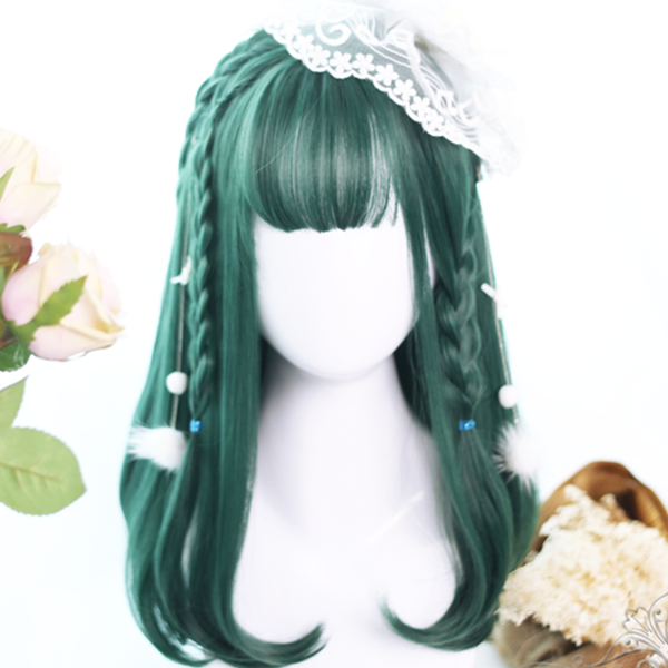 Harajuku Lolita Dark Green Medium Long Wig DB5024