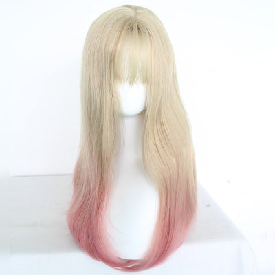 Light gold gradient powder long wig DB4094