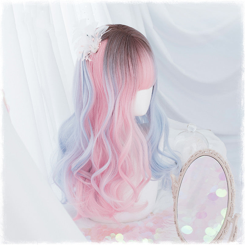 Lolita blue powder gradient long curly hair wig DB4819