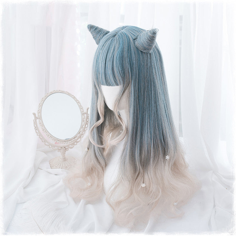 Harajuku gray blue gradient long curly hair wig DB4832