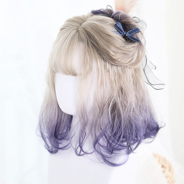 Harajuku Lolita off-white gradient blue-violet short curly hair wig DB5056