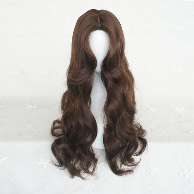 Chocolate color long curly hair  wig DB4137