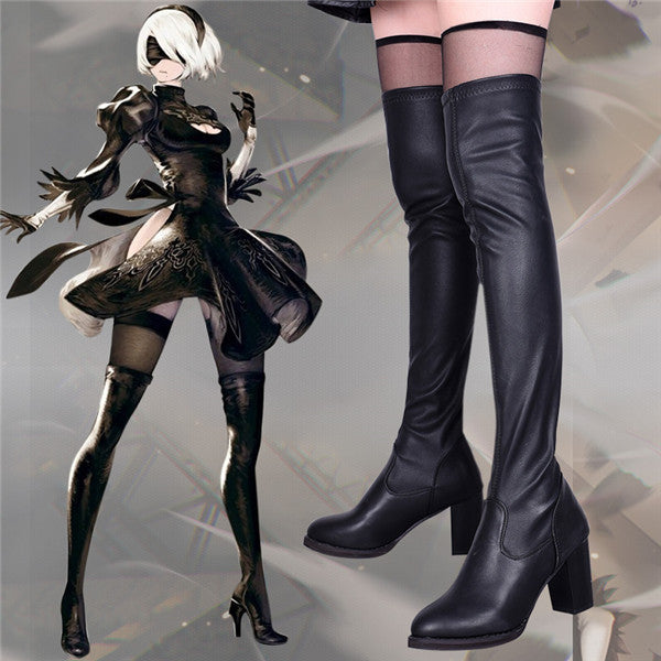 YoRHa No.2 Type B cos painted high-heeled leather boots DB5153