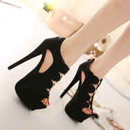 Hollow black high heels DB3058