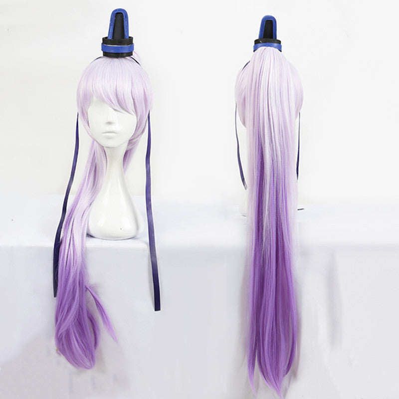 Anime cos lilac gradient ponytail wig DB5514