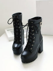 Black leather boots high heel shoes DB2064