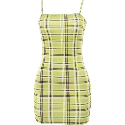 Punk plaid strap dress DB4308