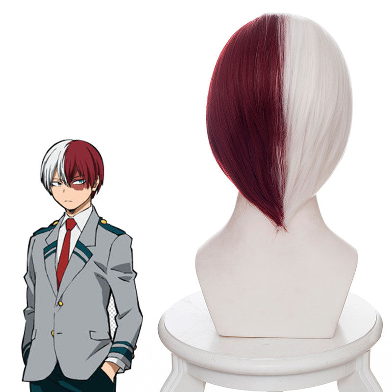 Todoroki Shouto cos white + red wig DB5054