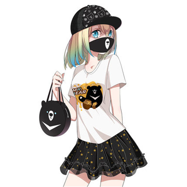 Anime Mr. Black Bear mask, short sleeve T-shirt and skirt three-piece suit DB5279