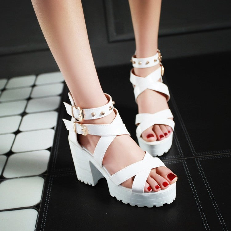 Ulzzang hollowed out high heels DB3089