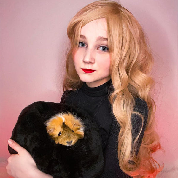 Golden air bangs long curly hair  wig DB4115