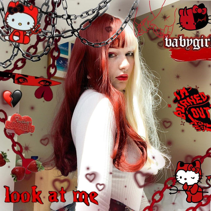 Review from Harajuku Lolita Red and White Colorblock Wig DB5376