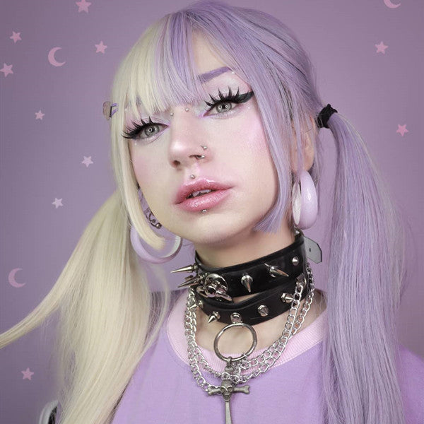 Review from Lolita purple + white long straight wig DB4982