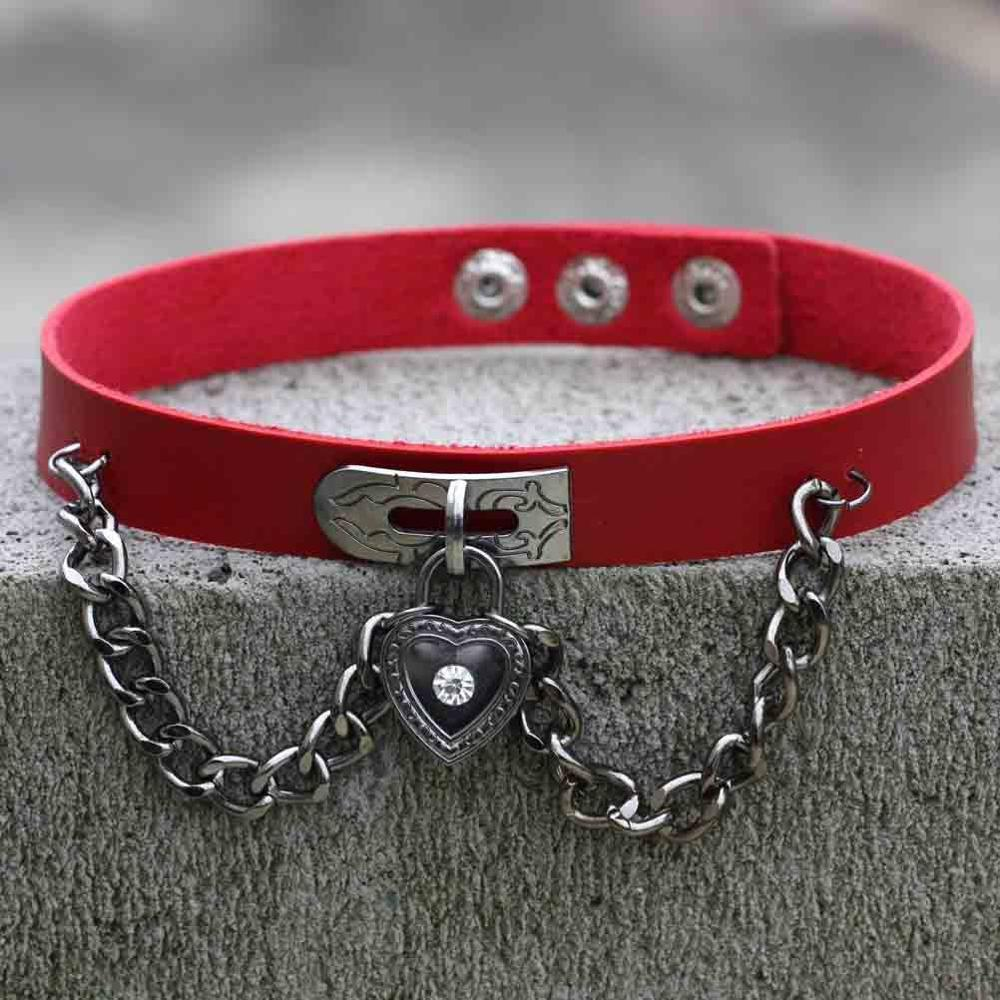 Punk Goth Chain Heart Chokers (various colors) DB3041