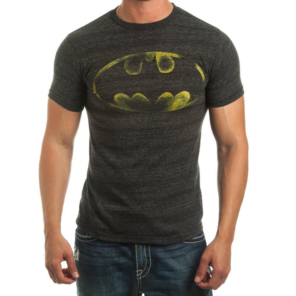 Batman Logo Bat Signal Men's Charcoal Tee Shirt