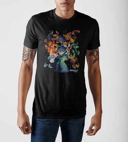 Capcom MegaMan Characters Graphic Print Black T-shirt