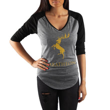 Load image into Gallery viewer, Game of Thrones House Baratheon V Neck Raglan T Shirt