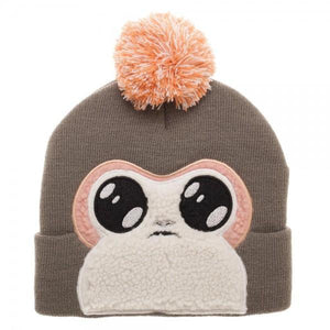 Porg Faux Fur Applique Big Face Beanie