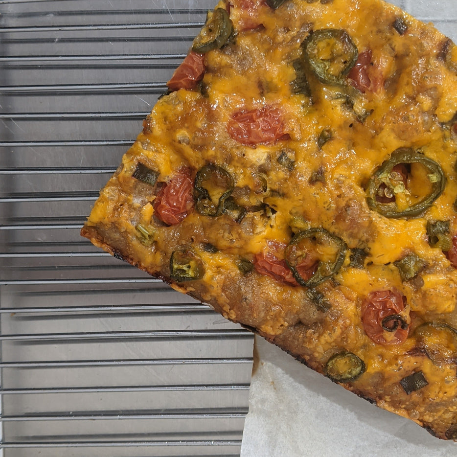 Wholesale Focaccia with Cheddar, Cherry Tomatoes and Jalepenos (Fresh-baked)