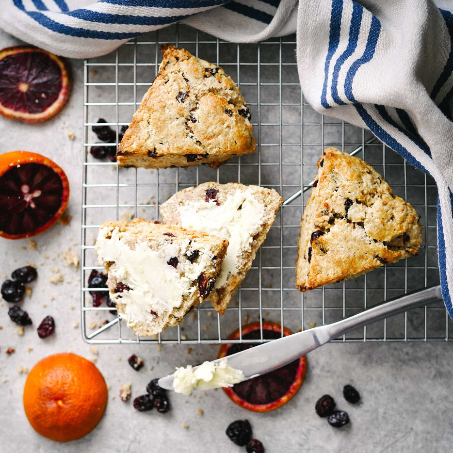 Sourdough Oatmeal Cranberry Blood Orange Scones