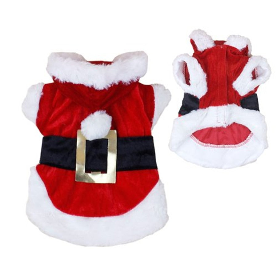 Santa Dog Costume Winter Pet Coats