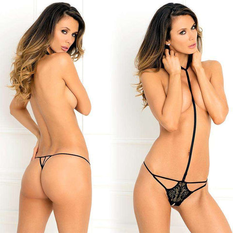 Sex Toys 1pc Bedroom Ready Crotchless Teddy With Lace Medium/Large (Black) Rene Rofe buy now