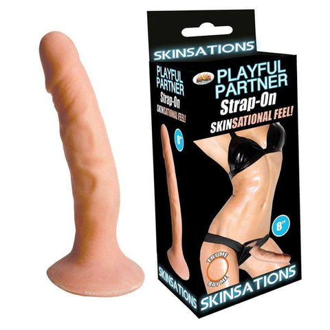 Sex Toys Skinsations Playful Dildo W/Harn 8in Hott Products Unlimited buy now