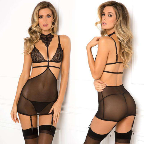 Sex Toys Tempt Me Chemise Set Black S/M Rene Rofe buy now