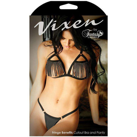 Sex Toys Vixen Fringe Benefits Cutout Bra With Matching Panty Black ONE SIZE Fantasy Lingerie buy now