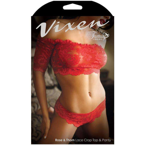 Sex Toys Vixen Rose & Thorn Lace Crop Top & Matching Panty Red One Size Fantasy Lingerie buy now
