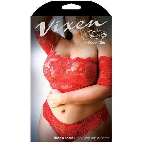 Sex Toys Vixen Rose & Thorn Lace Crop Top & Matching Panty Red Queen Fantasy Lingerie buy now