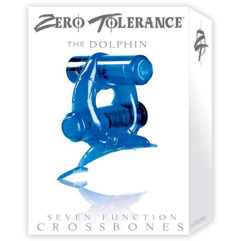 Sex Toys Zero Tollerence Diving Dolphin Vib Cock Ring Blue w/2 Evolved Men Vibrating cock ring buy now
