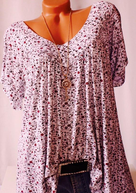 bb73e21eec81ed Plus Size Women Fashion Blouse Casual Loose Floral Printed Tops