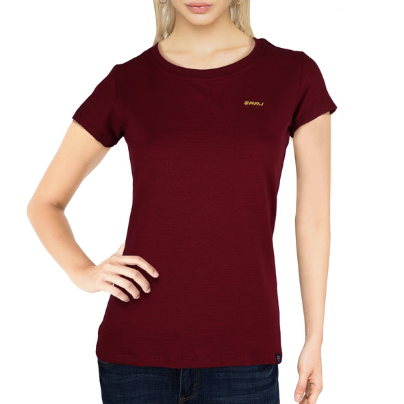 RRJ Ladies Basic 3x1 Missed Lycra Regular Fit Tees 15897 (Red Dahlia)