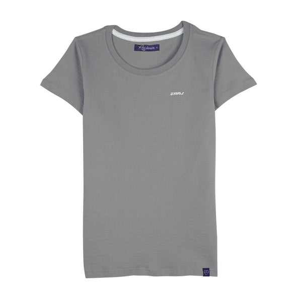 RRJ Ladies Basic 3x1 Missed Lycra Regular Fit Tees 15897 (Gray)