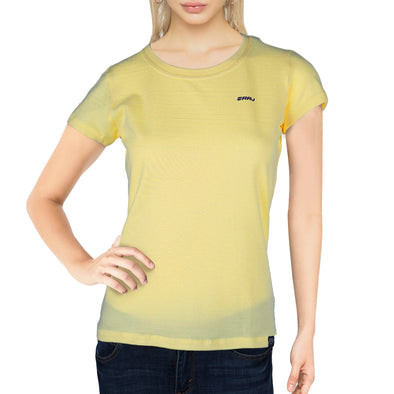 RRJ Ladies Basic 3x1 Missed Lycra Regular Fit Tees 15897 (Light Yellow)